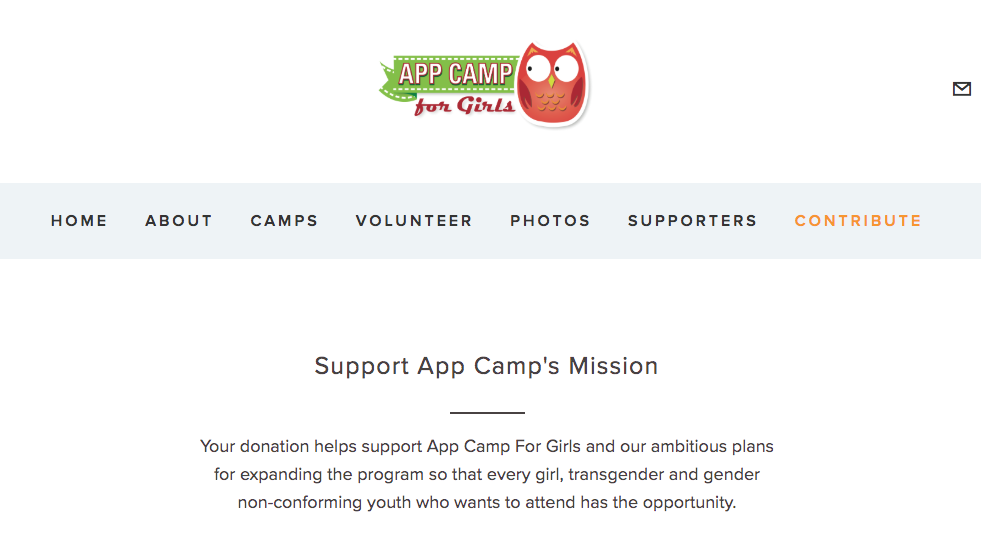 A screenshot of the App Camp for Girls site's donation page