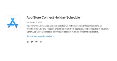 App Store Connect Holiday