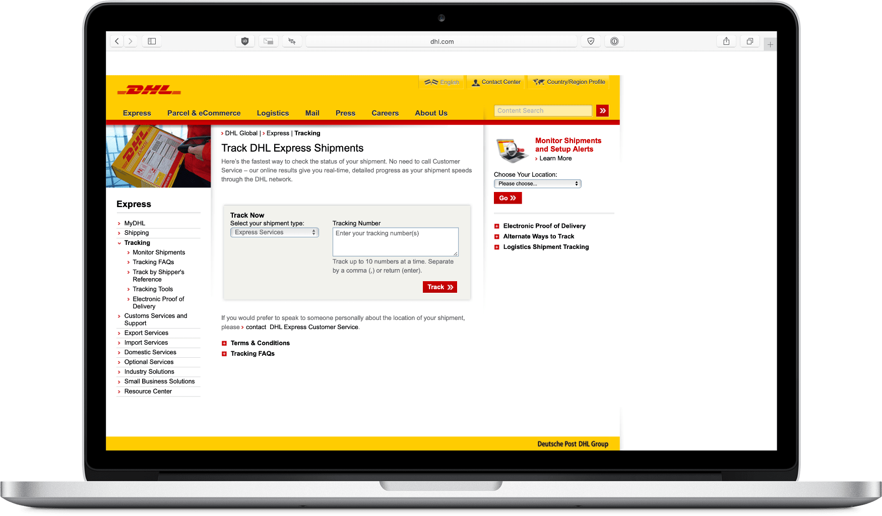 image of DHL package tracking website