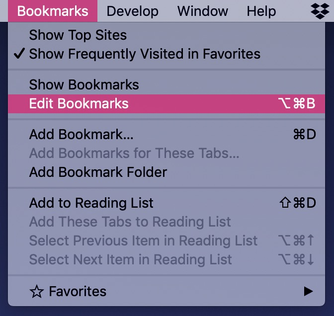 """Edit Bookmarks"" Menu Option"