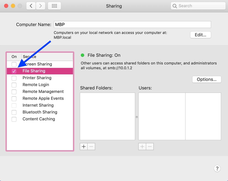 """File Sharing"" Option"