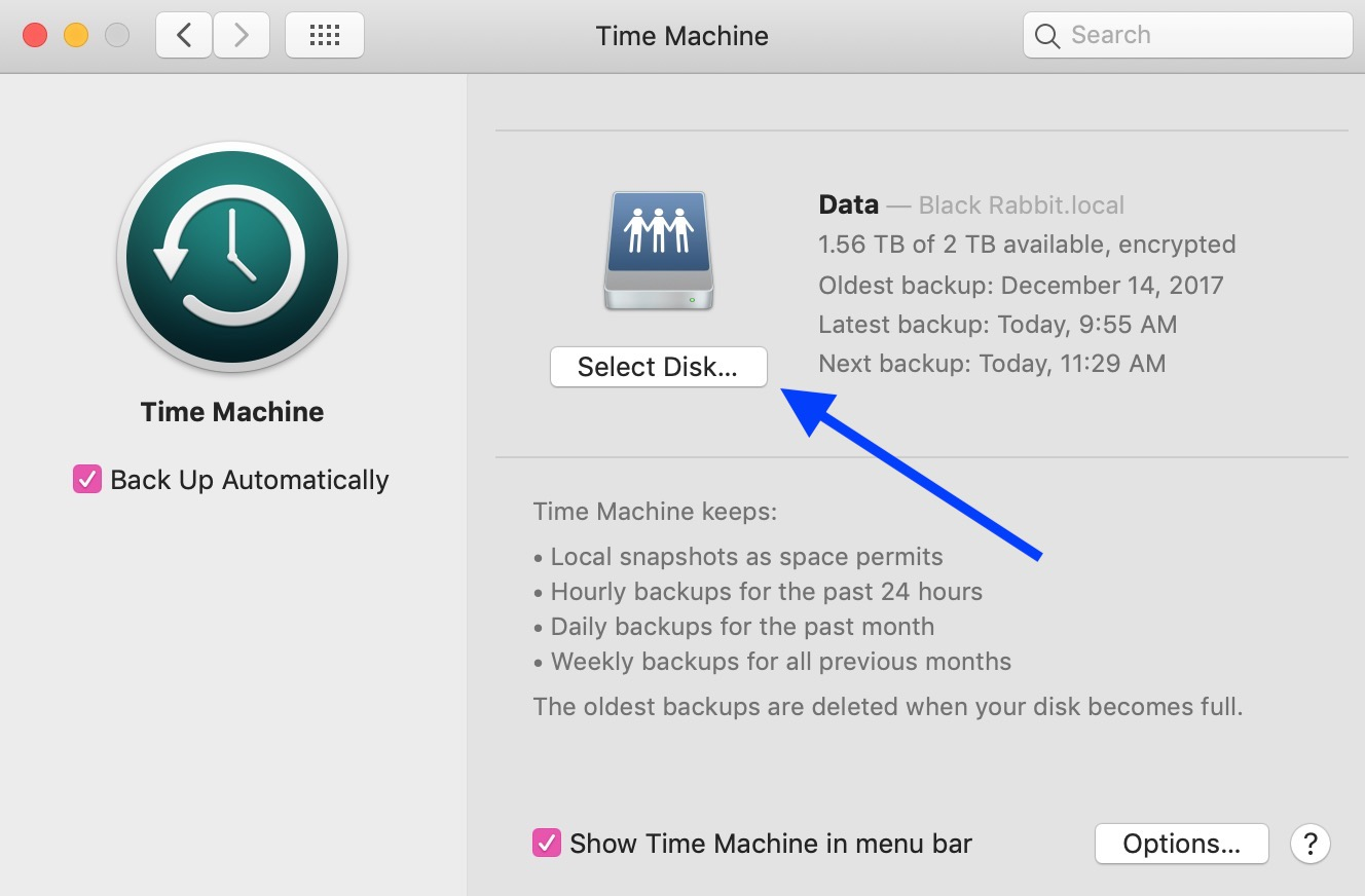 """Select Disk"" Button in System Preferences"