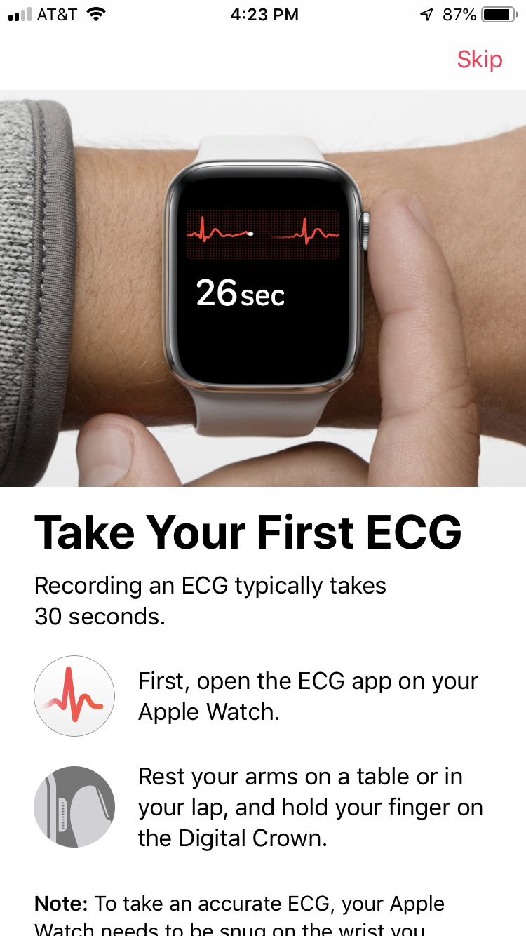Screenshot demonstrating how to take an ECG