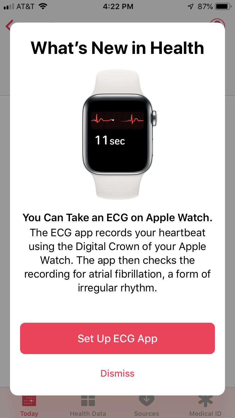 """Screenshot of """"What's New In Health"""" on an iPhone"""