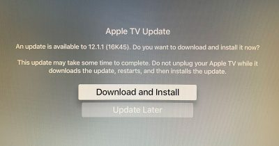 tvOS 12.1.1 Update Screen