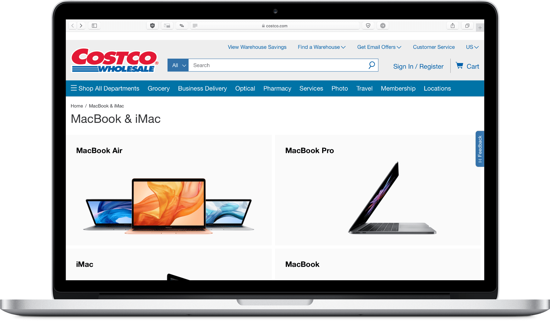 image of costco mac website