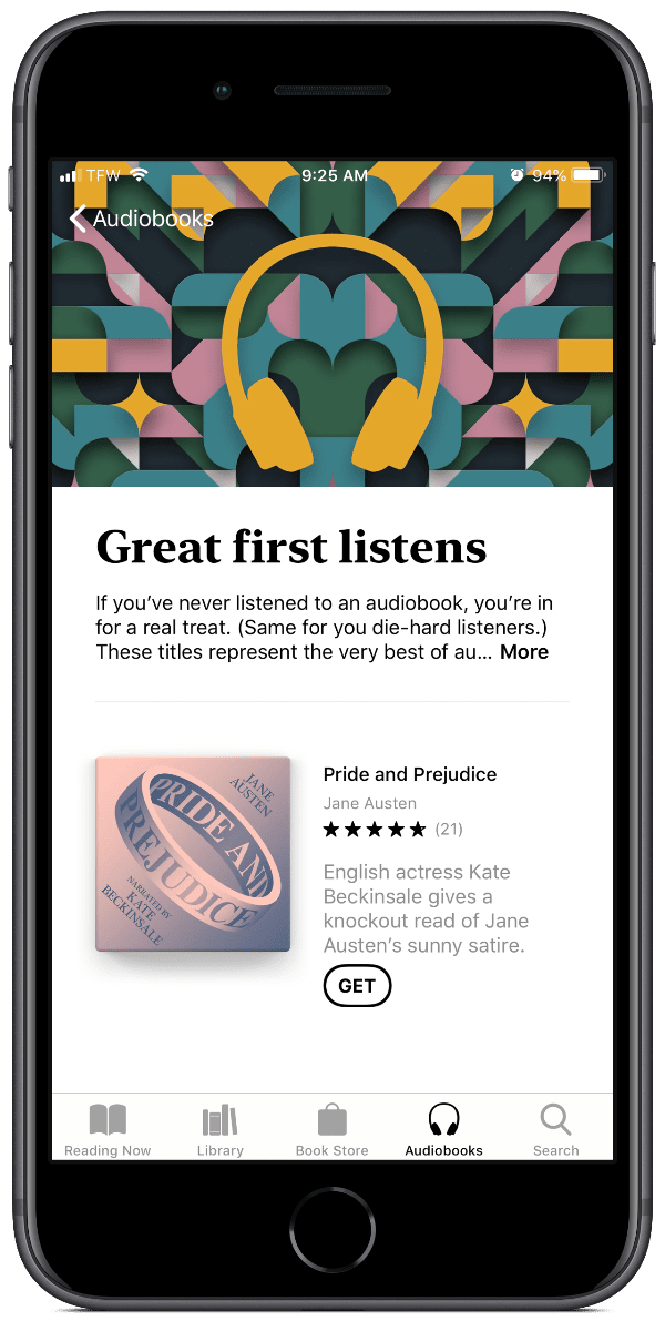 image of free audiobooks in Apple Books