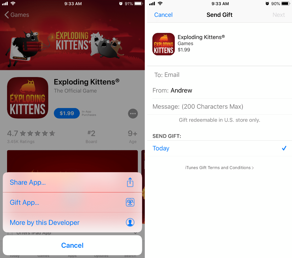 you can now gift In-App Purchases. gifting apps shown here
