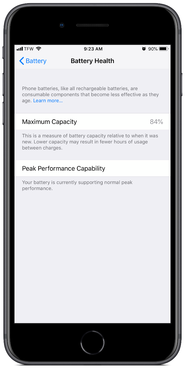 iPhone battery health in settings