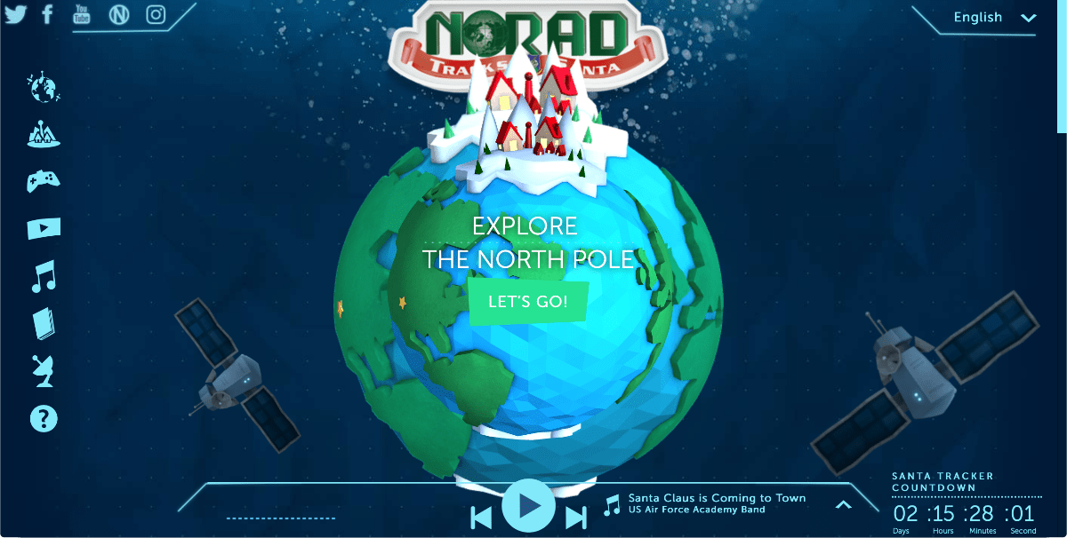image of norad track santa website