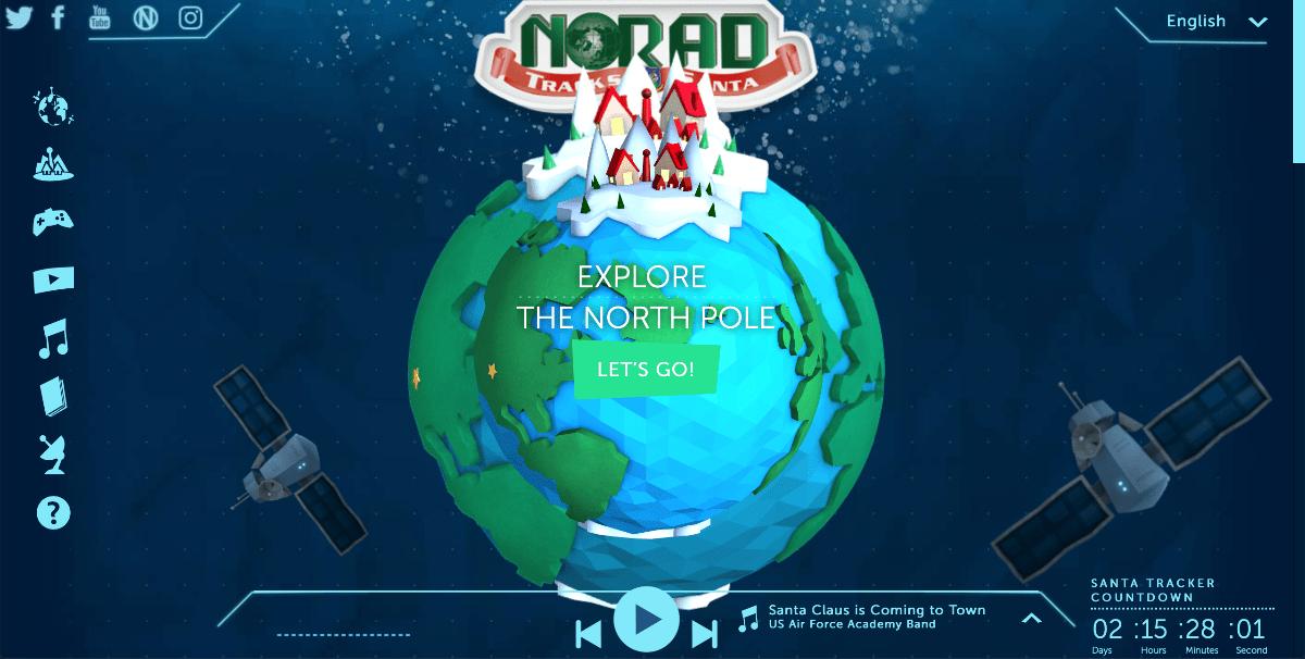 image of norad track santa website