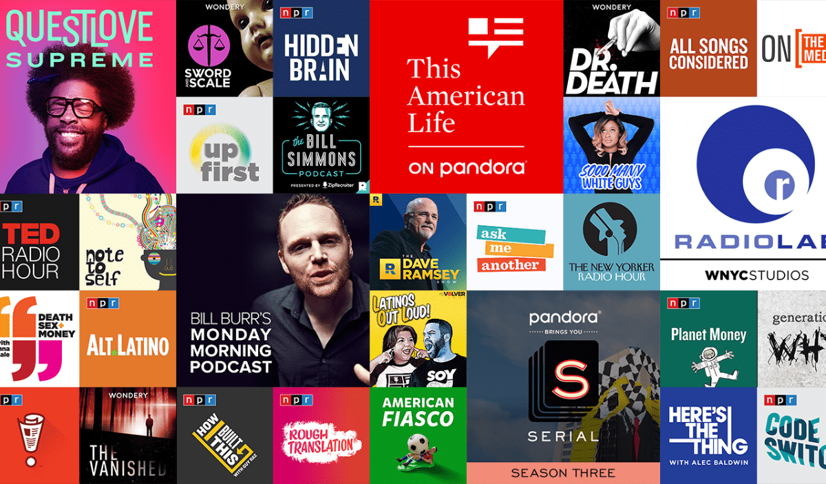 image of podcasts on pandora podcast platform