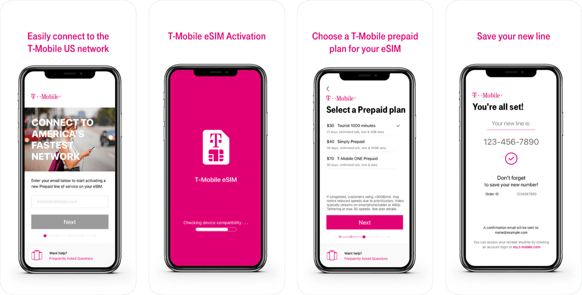 screenshots of t-mobile eSIM app