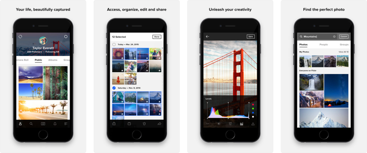 screenshots of flickr app