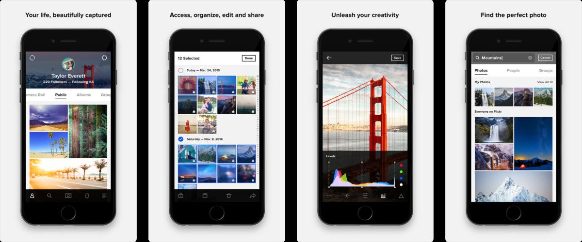screenshots of flickr app