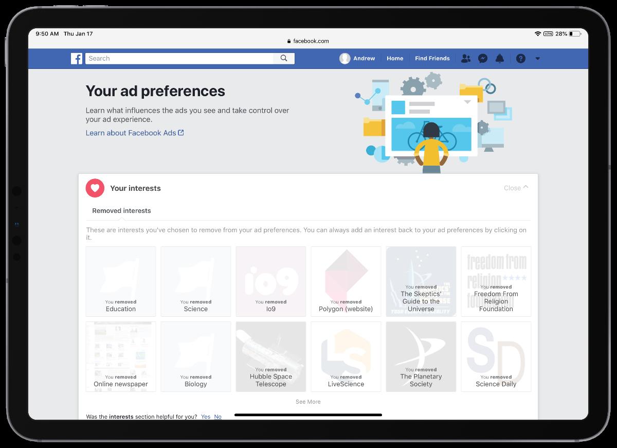 screenshot of Facebook ad preferences