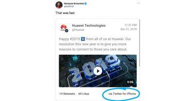 Huawei NYE tweet via iPhone