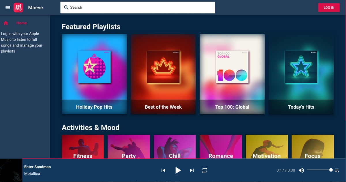 Maeve: An Apple Music Web Player With Customizable Themes