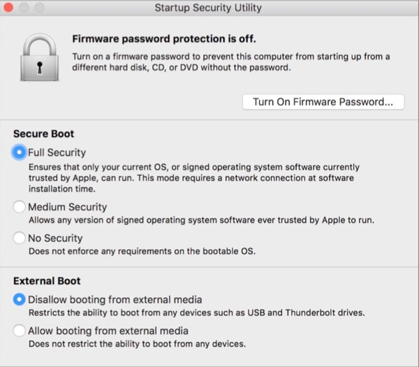 Startup Security Utility