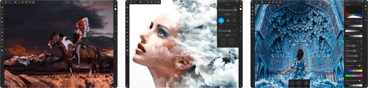 screenshots of affinity photo