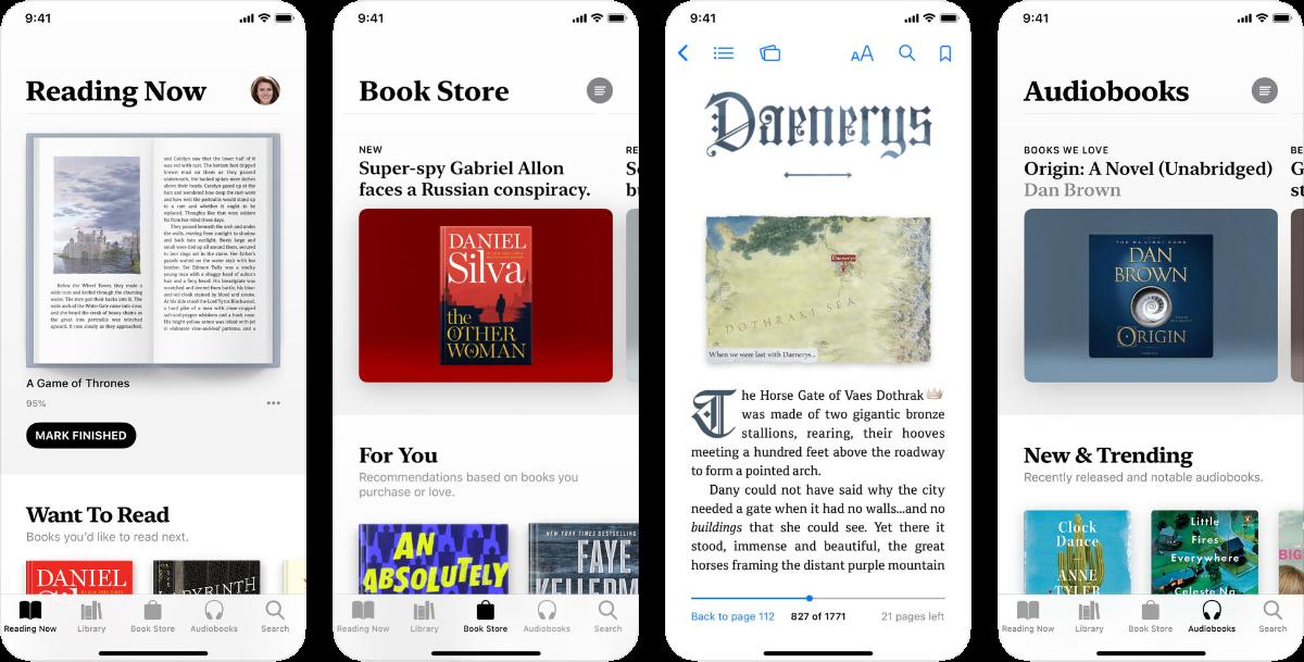 screenshots of apple books