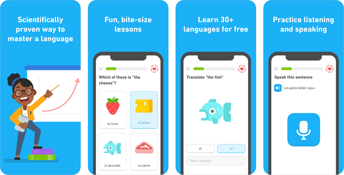 screenshots of duolingo