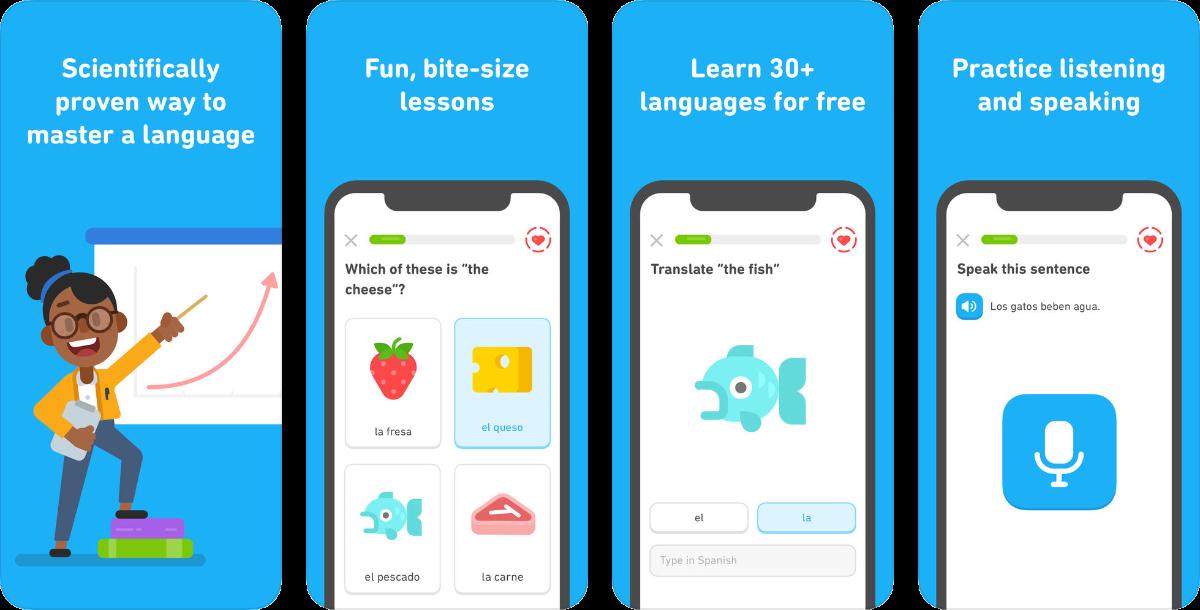 screenshots of duolingo