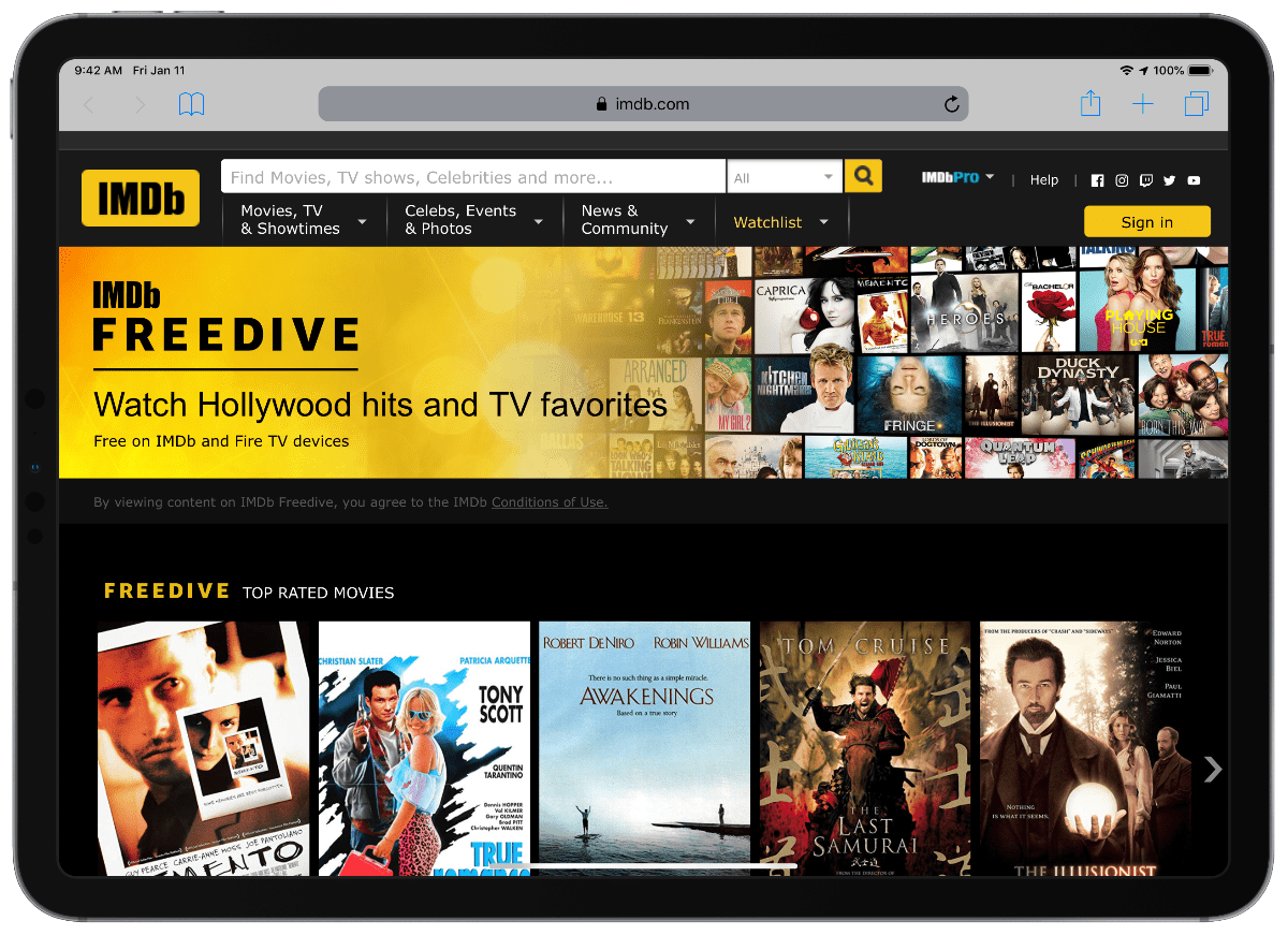 IMDb launches its own free, ad-supported streaming service, Freedive