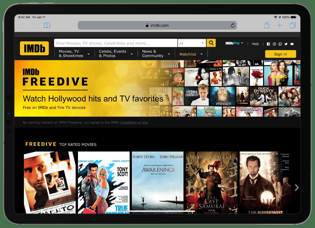 image of imdb freedive on iPad pro