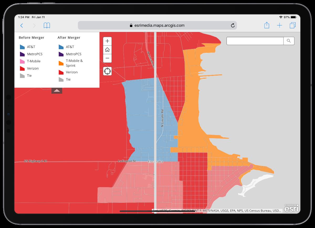 image of esri merger map on iPad pro