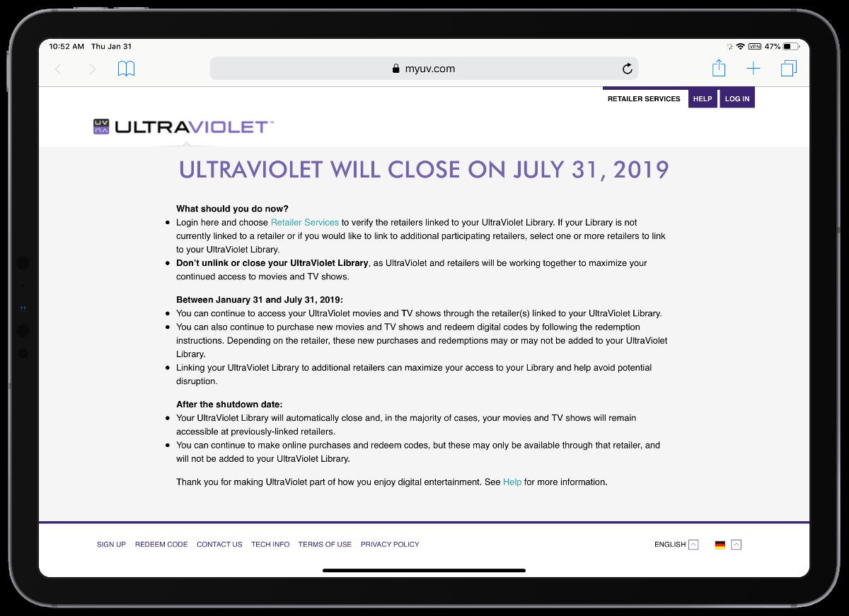 ultraviolet website on iPad pro
