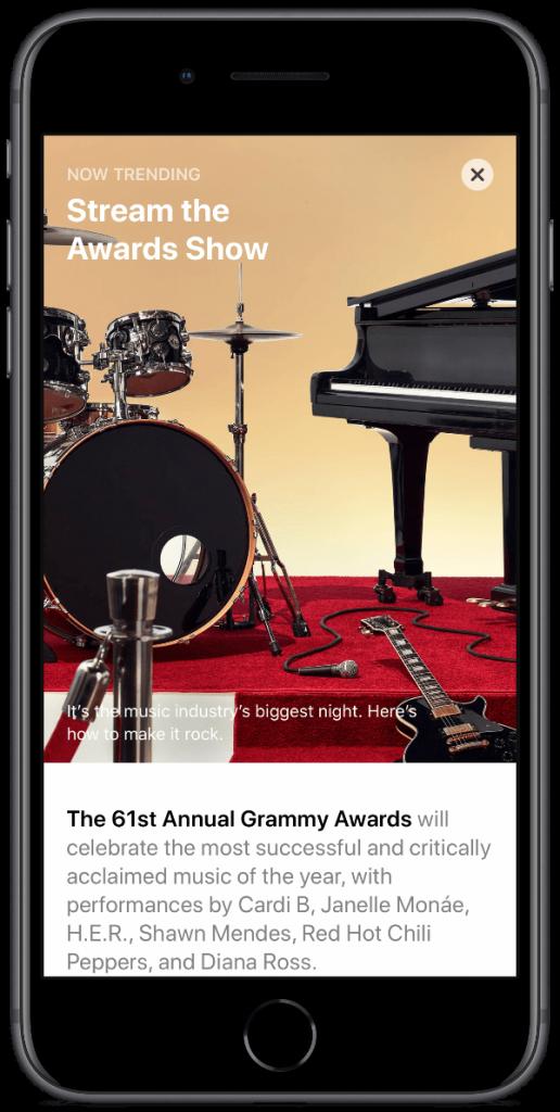 2019 grammy awards app story