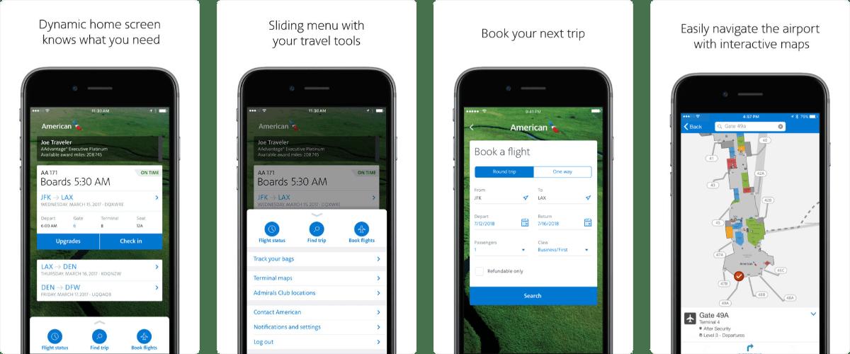 american airlines app screenshots