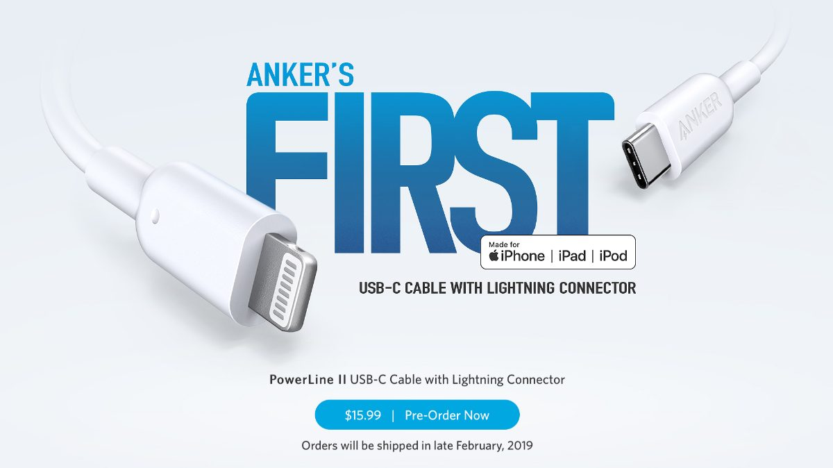 Anker MFi lightning to USB-c cable