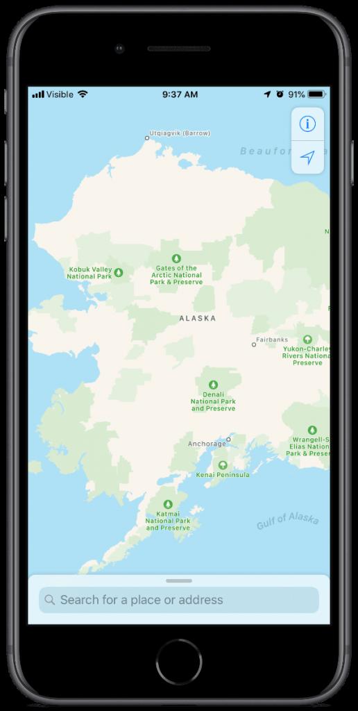 alaska in apple maps