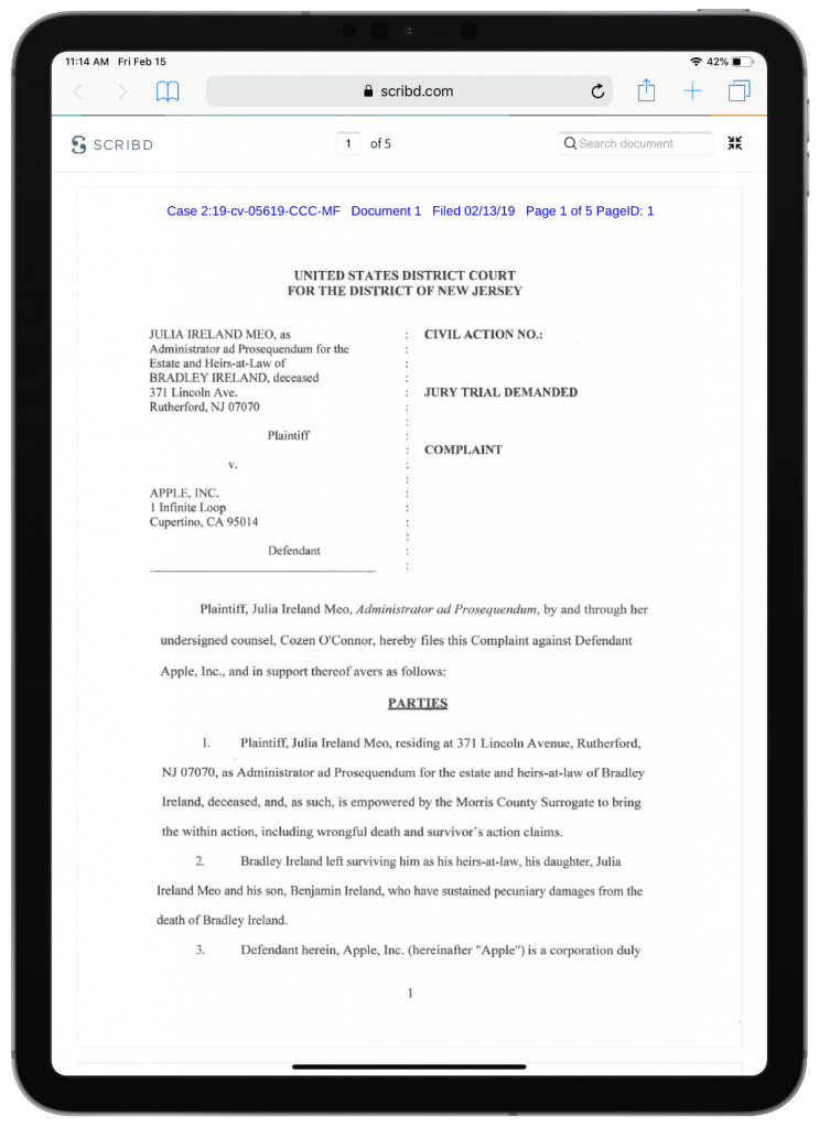 image of the lawsuit on ipad
