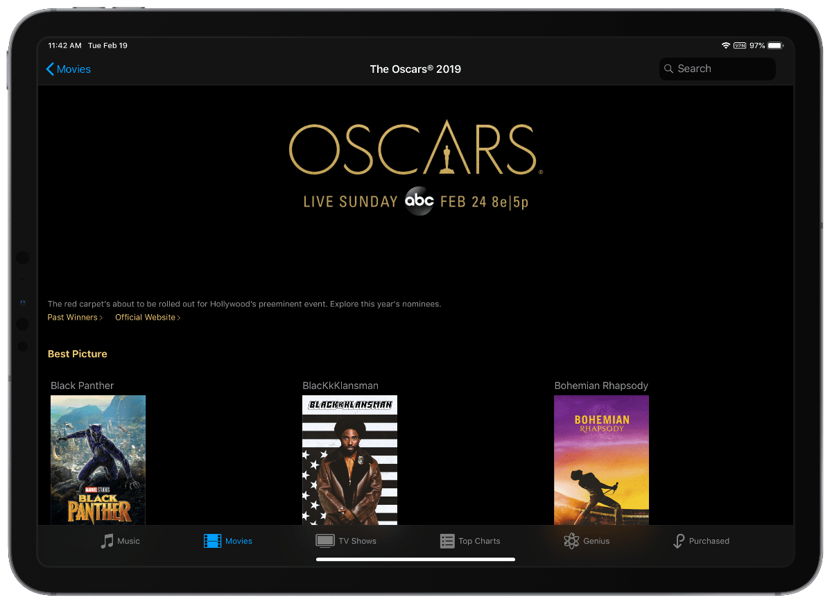 oscars movie sale in itunes