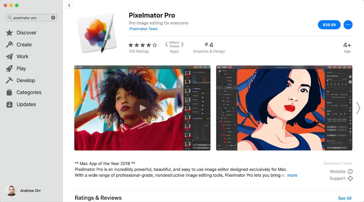pixelmator pro 1.3.1 in mac app store