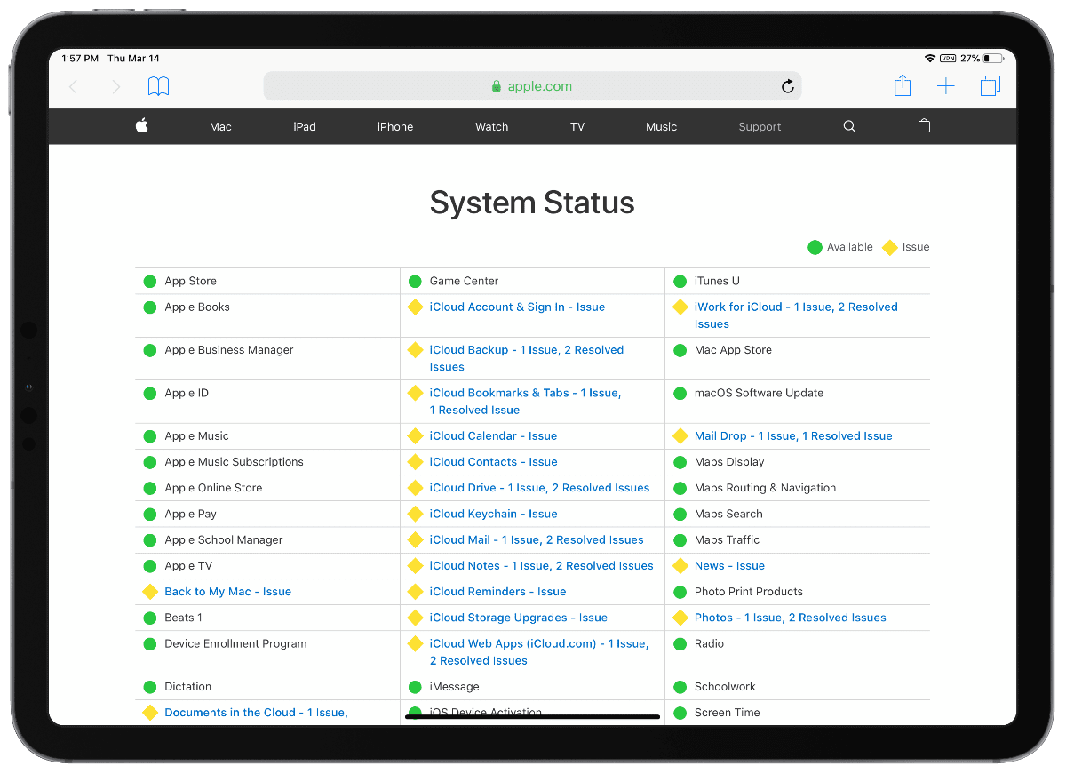 apple system status page showing icloud outage
