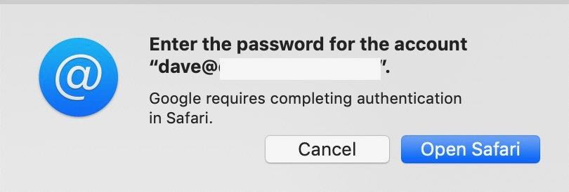 A dialog box with a prompt asking for a Gmail password.
