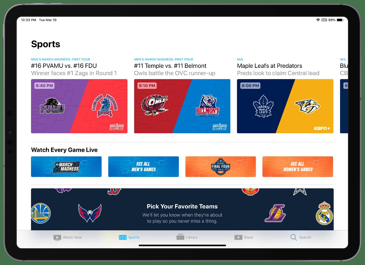 screenshot of apple TV sports on iPad pro