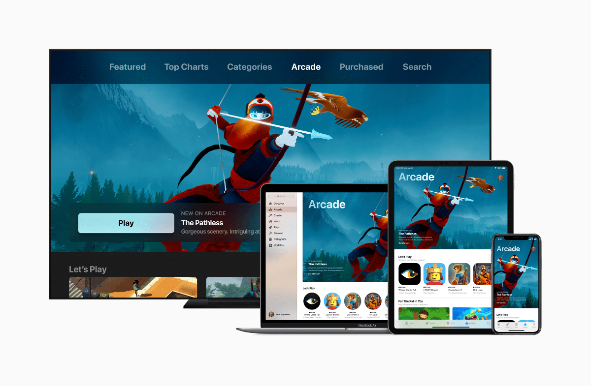 image of apple arcade on multiple devices