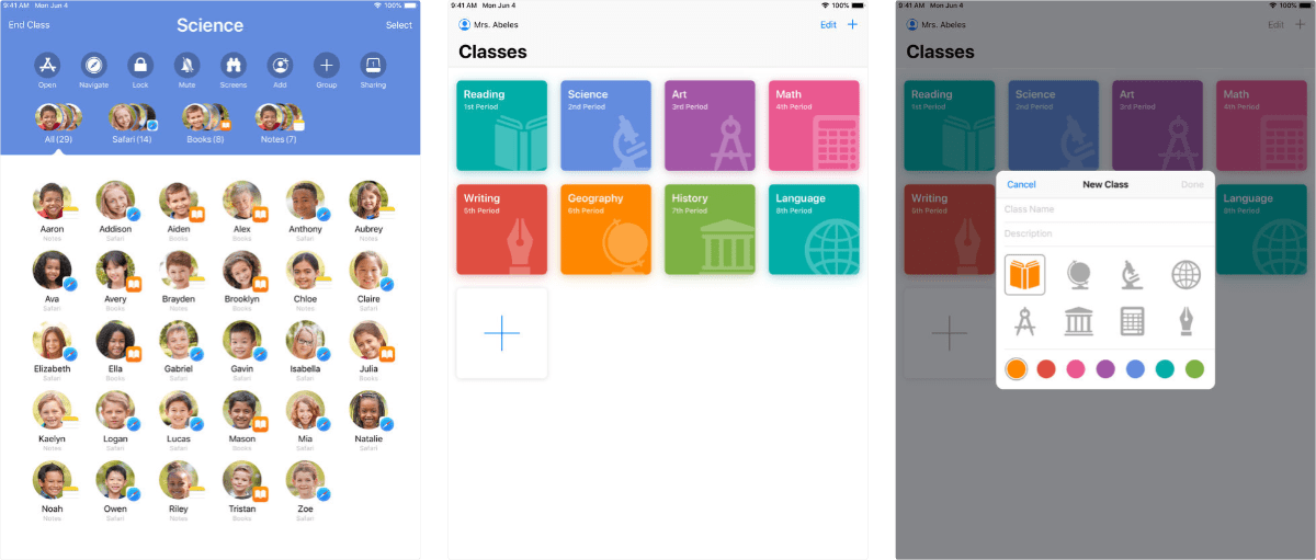 screenshots of apple classroom