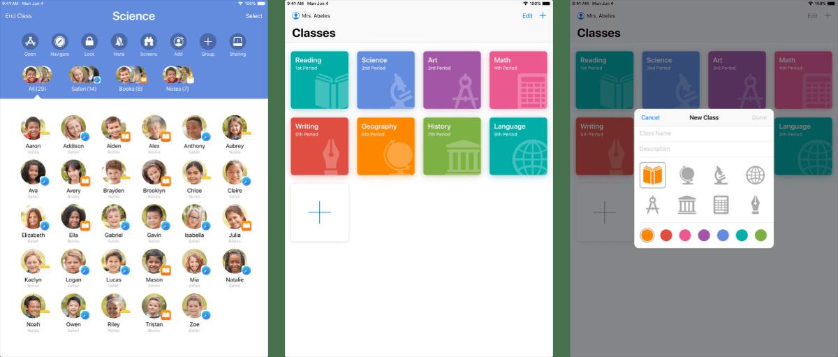 screenshots of apple classroom