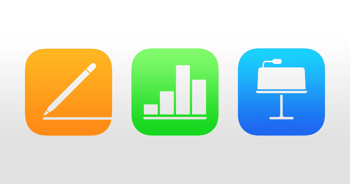 iwork suite. icons of pages, numbers, keynote
