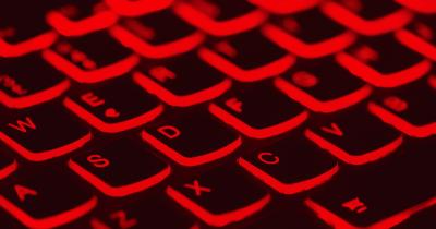 red-lit keyboard