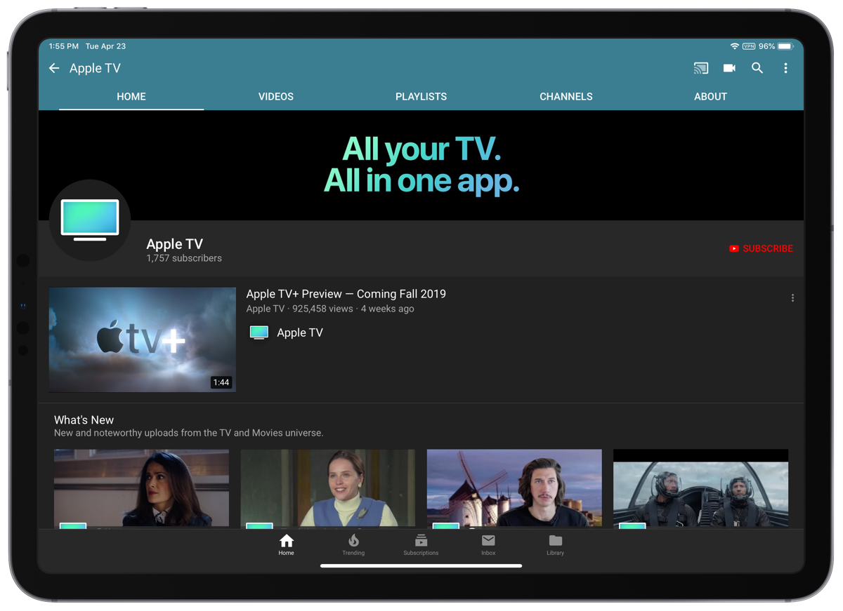 Screenshot of the Apple TV YouTube channel