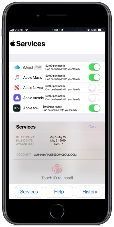 Apple services app concept