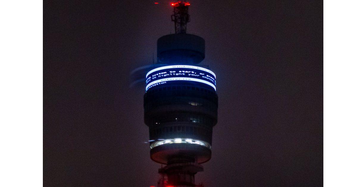 Have You Tried Restarting? London Landmark the BT Tower Displays Windows Error Message