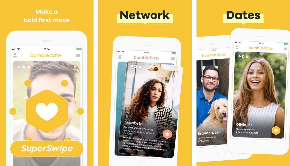 Screenshots of Bumble dating app